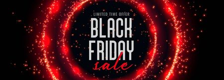 black friday sale banner with red circular sparkles