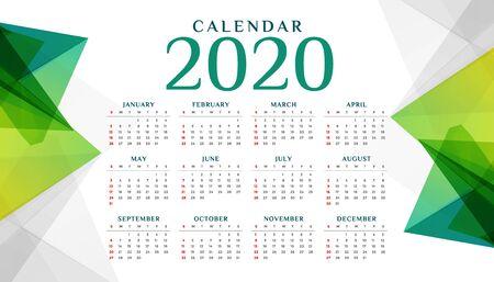Plantilla de diseño de calendario verde geométrico abstracto 2020