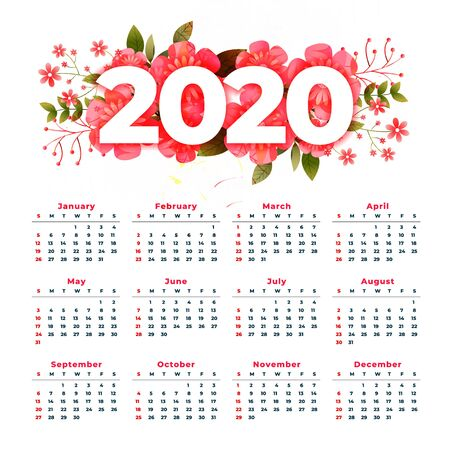 new year 2020 calendar design with flower decoration