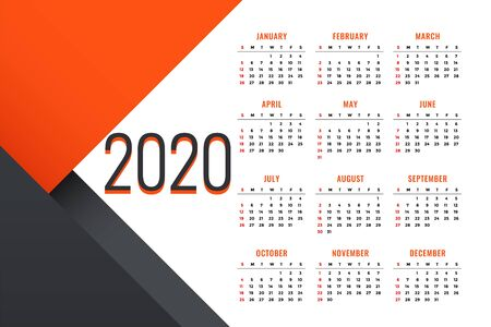 clean 2020 new year calendar design with text space Illustration