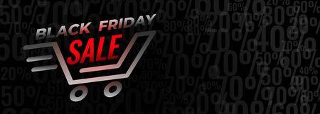 Venta de compras de viernes negro y diseño de banner de descuento.
