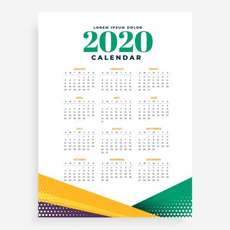 2020 new year calendar design template