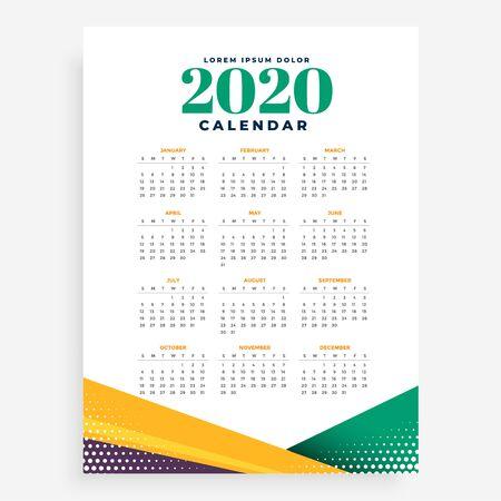 Plantilla de diseño de calendario de año nuevo 2020
