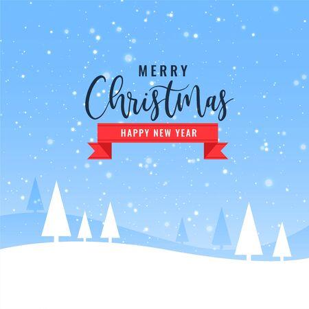 hermoso diseño de fondo de paisaje de invierno de feliz navidad
