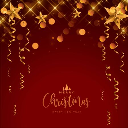 merry christmas festival celebration red and gold greeting design