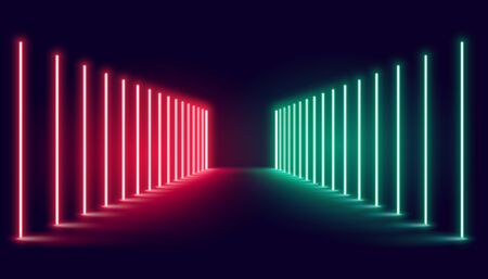 red and green neon light stage background design