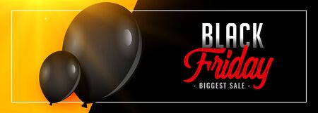 lovely black friday big sale banner with balloon