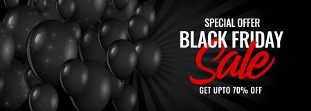 black friday sale dark banner with balloons