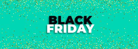 black friday turquoise banner with golden glitter
