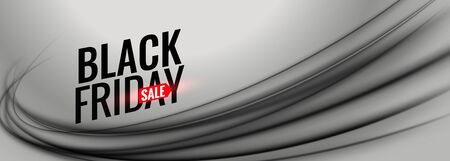 black friday gray sale banner with wavy shape