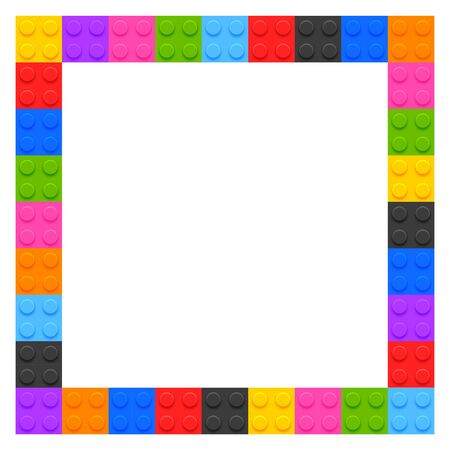 plastic kids blocks frame with text space