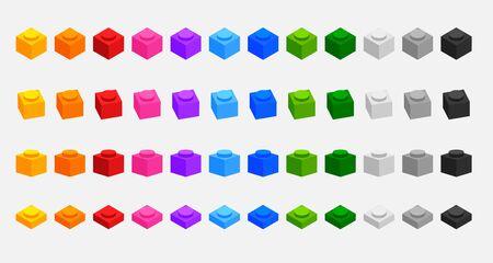 set of 3d building blocks bricks in many colors Illustration
