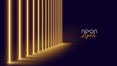 glowing golden neon lights line background design