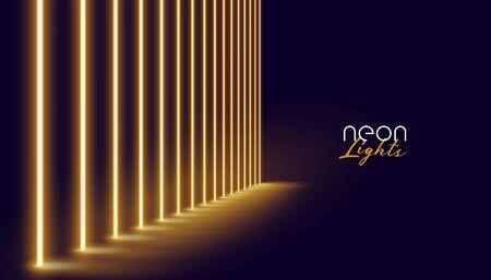 glowing golden neon lights line background design