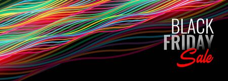 black friday sale banner with colorful lines Illusztráció