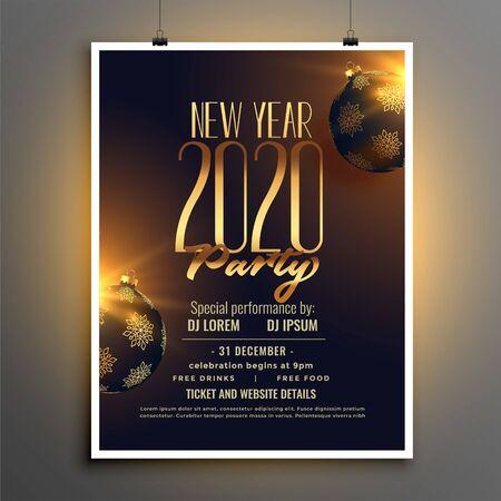 happy new year 2020 party flyer design template Vektorové ilustrace