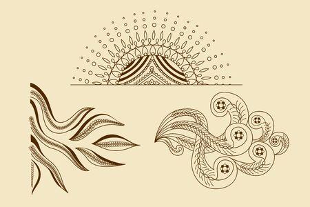 creative curls floral ornament art design set