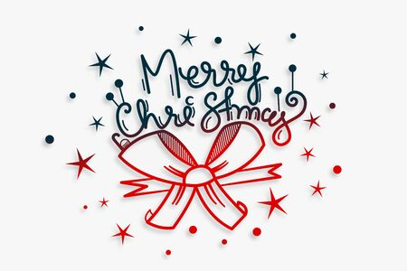 merry christmas lettering background with ribbon design