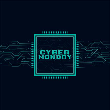 cyber monday background in technology style design