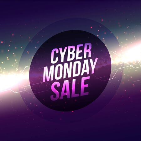 abstract glowing cyber monday sale banner design