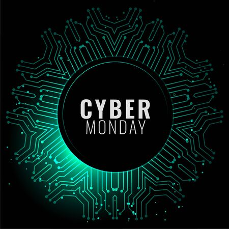 cyber monday banner in digital style background