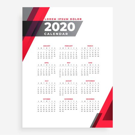 elegant 2020 geometric new year calendar design template Фото со стока - 134735085