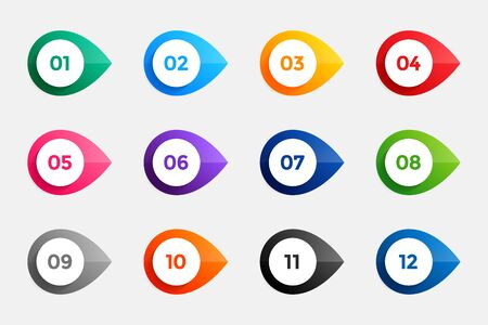 bullet points from one to twelve in many colors Vettoriali