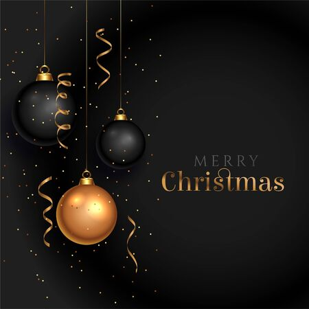 black christmas background with realistic decorative balls