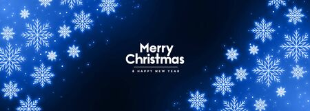 glowing blue neon snowflakes winter merry christmas banner