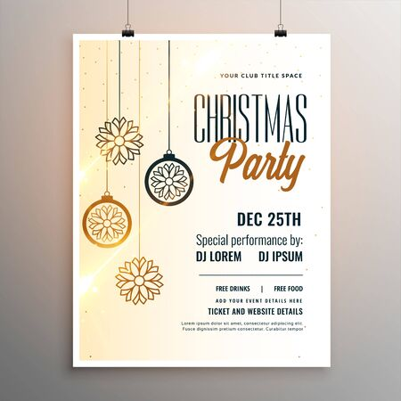merry christmas party white flyer template design