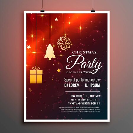 christmas party flyer template with invitation detail
