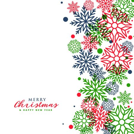 white merry christmas greeting with colorful snowflakes Illusztráció