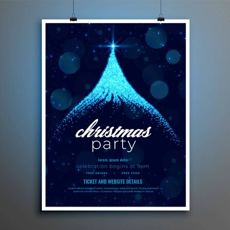 christmas party poster design with blue sparkle tree