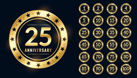 anniversary labels big set in premium golden colors