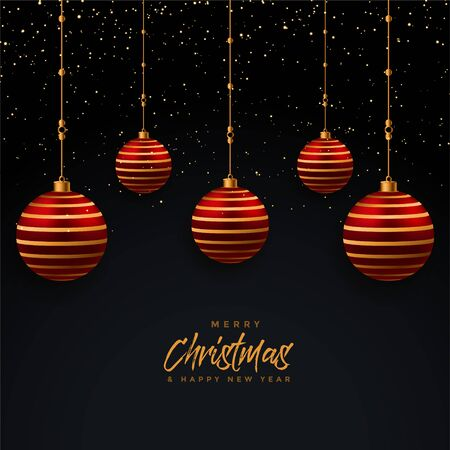 merry christmas hanging realistic balls festival background