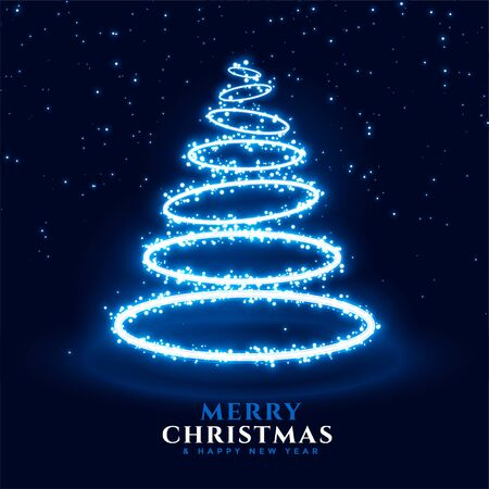 neon christmas tree in ring style background