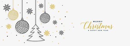 elegant merry christmas white banner in line style Stock Illustratie