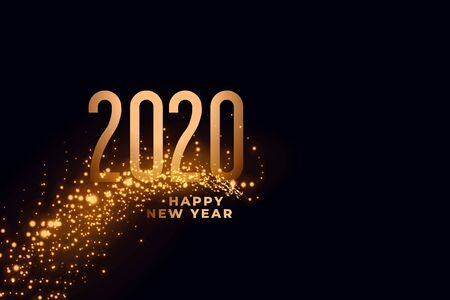 happy new year 2020 falling sparkles background design Illusztráció