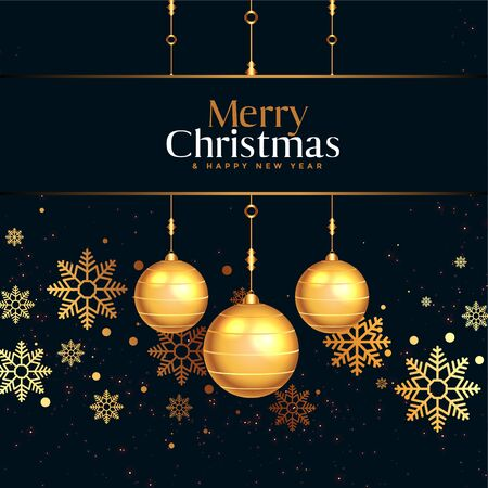 black and gold merry christmas festival poster design