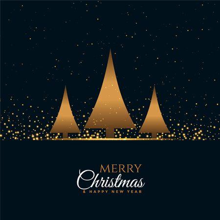 elegant merry christmas premium greeting with three trees Stock Illustratie