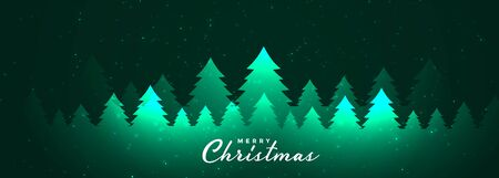 merry christmas glowing trees banner design template