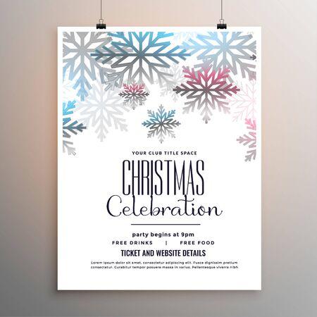 beautiful christmas celebration flyer with snowflakes template design Illusztráció