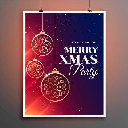merry christmas party poster flyer invitation template design Çizim