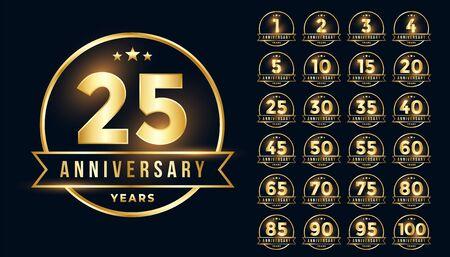 premium golden anniversary emblem set in line style Ilustrace