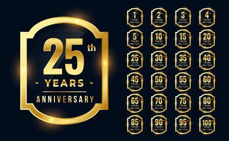 big set of premium anniversary   in golden color