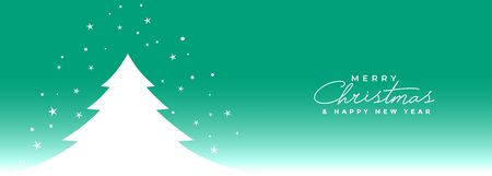 merry christmas tree with stars banner design