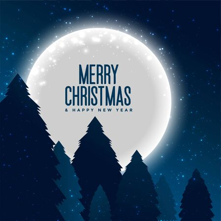 merry christmas trees and full moon background
