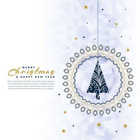 merry christmas decorative tree stylish background design Stock Illustratie