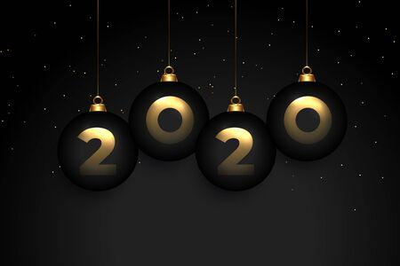 elegant 2020 black premium new year wallpaper design
