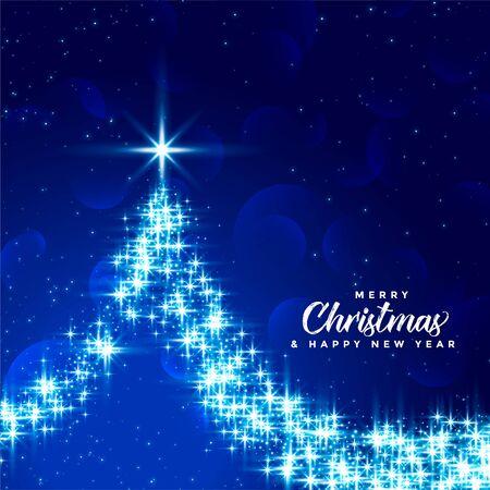 beautiful merry christmas blue sparkle tree design background